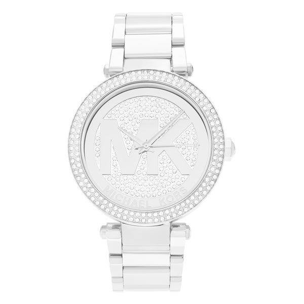 Michael Kors Women's MK5925 'Parker' Stainless Steel Crystal Pave Logo Dial Link Bracelet Watch