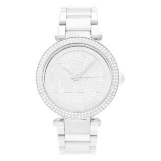 Michael Kors Women's MK5925 'Parker' Stainless Steel Crystal Pave Logo Dial Link Bracelet Watch