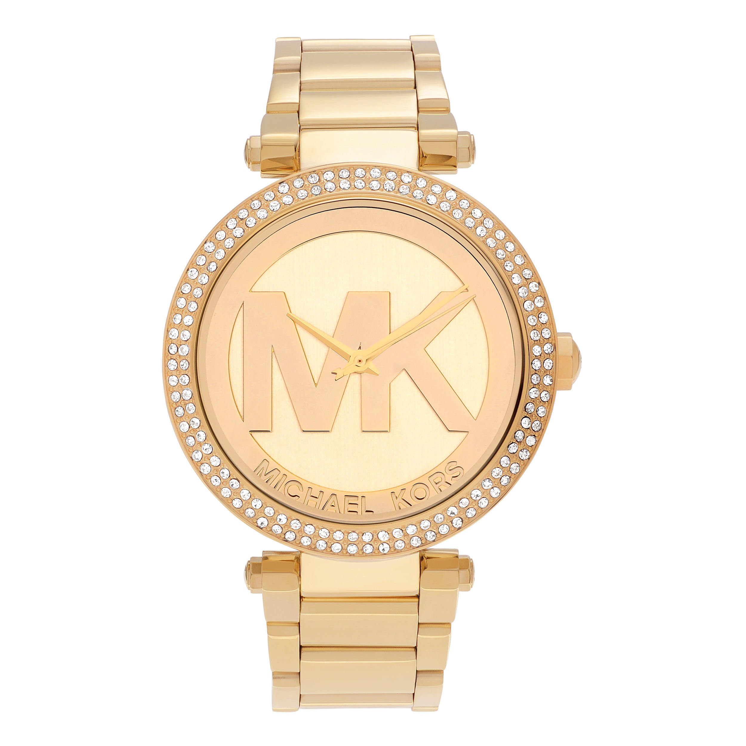 Michael Kors Women's MK5784 'Parker' Goldtone Stainless Steel Crystal Pave Logo Dial Link Bracelet Watch Gold