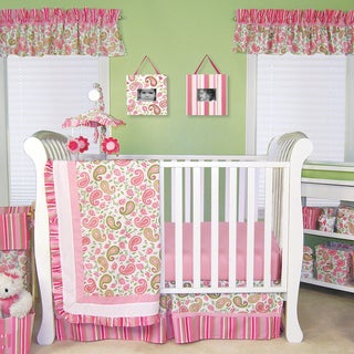Paisley Park Pink, Sage, and Moss 3-Piece Crib Bedding Set