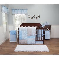 Logan 3-Piece White, Pink, Blue, and Grey Crib Bedding Set