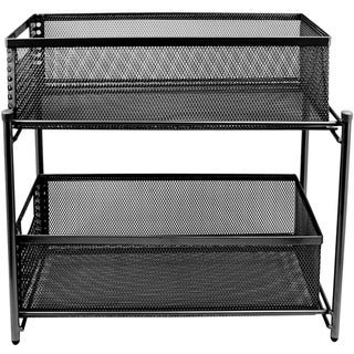 2 Drawers Steel cabinet stand (Black)