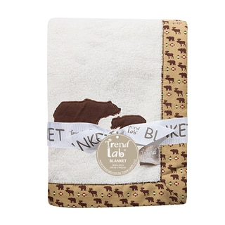 Trend Lab Northwoods Framed Off-white/ Brown Cotton Fleece Bear-themed Baby Blanket