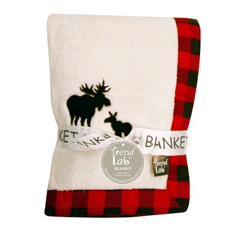 Trend Lab Northwoods Moose Framed Coral Fleece Baby Blanket