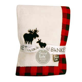 Trend Lab Northwoods Moose Framed Coral Fleece Baby Blanket