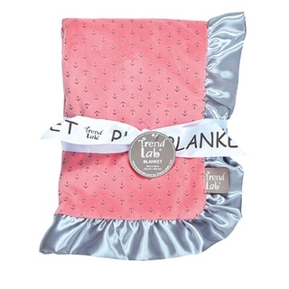 Trend Lab Petite Anchors Shell Pink Velour and Satin Receiving Blanket