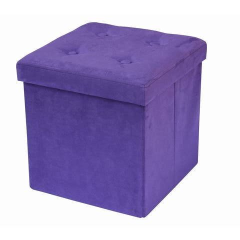 Foldable Storage Ottoman - Suede with Cover (Purple)