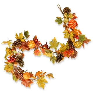 National Tree Company Plastic and Polyester 72-inch Decorated Maple Leaf Garland