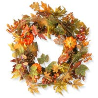 24-inch Decorated Maple Leaf Wreath