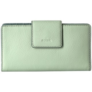 Fossil Emma Light Sage Leather RFID Clutch Wallet