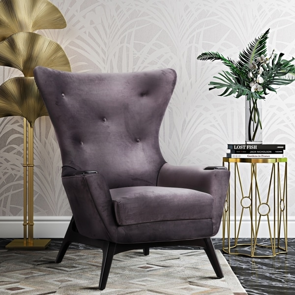 Shop Charlie Glam Grey Velvet Chair Free Shipping Today
