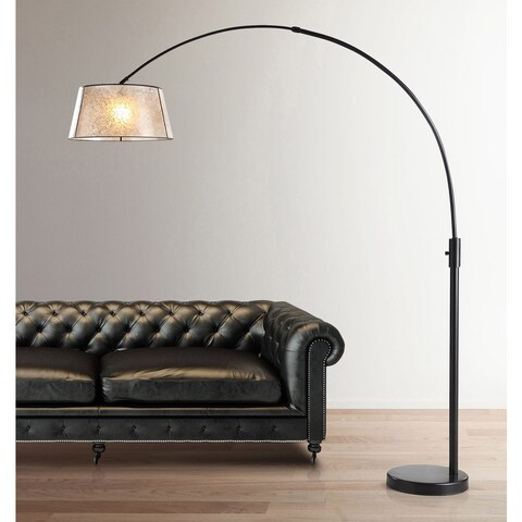 Orbita 82-inch Dark Bronze Retractable Arch Dimmable Floor Lamp with LED Bulb and Mica Shade