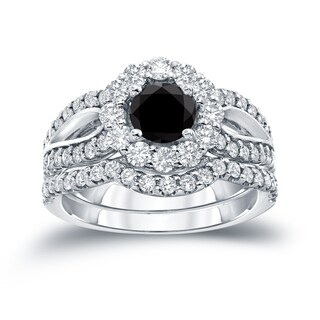 Auriya 14k Gold 2 1/3ct TDW  Round Cut Diamond Halo Bridal Ring Set (Black SI1-SI2)