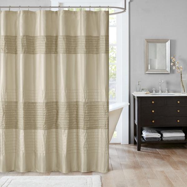 Madison Park Eastridge Metallic Pieced Shower Curtain - 3 Color Option