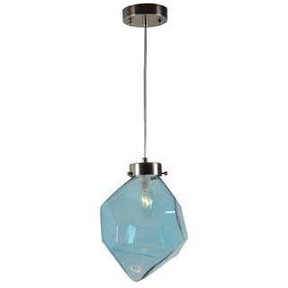 Moravian Asymmetrical Blue Glass 1-light Ceiling Pendant