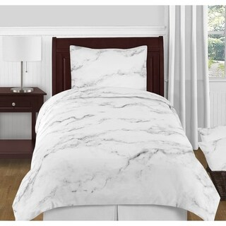 Sweet Jojo Designs Black and White Marble Collection Twin XL 4-piece Comforter Set
