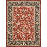 Colonial Home Traditional Floral Border Area Rug - 2' x 3'