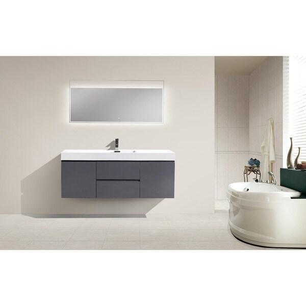 Moreno 60-inch Wall Mounted Reinforced Acrylic Single Sink Bathroom ...