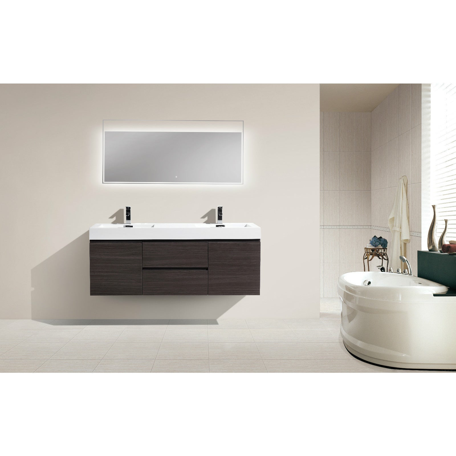 Moreno 60 Inch Wall Mounted Reinforced Acrylic Double Sink Bathroom Vanity