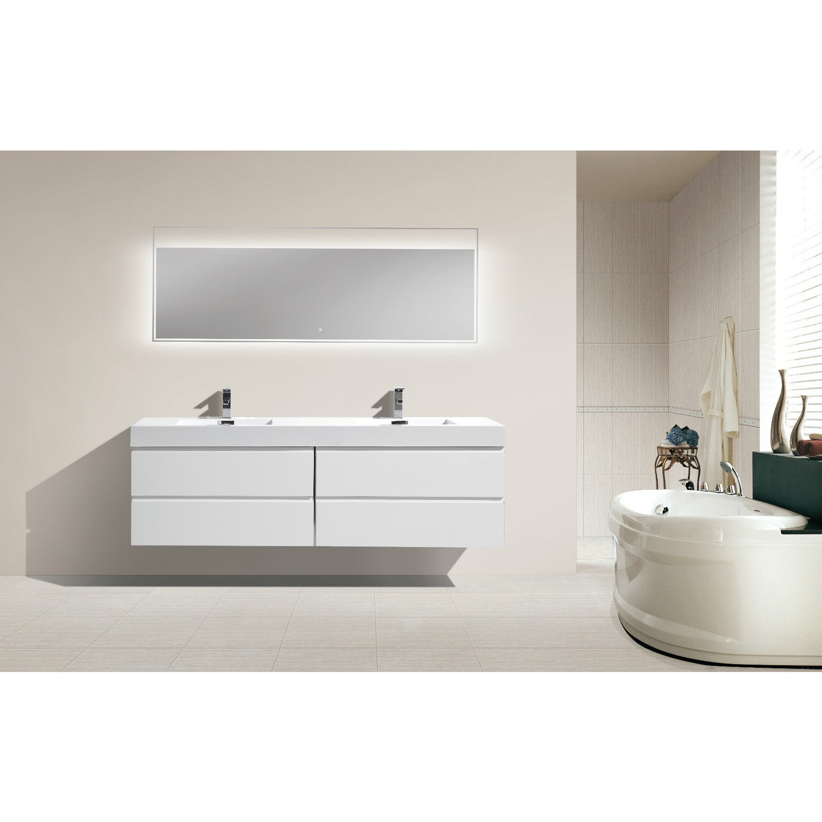 Moreno 72 Inch Wall Mounted Reinforced Acrylic Double Sink Bathroom Vanity  (4 Options Available