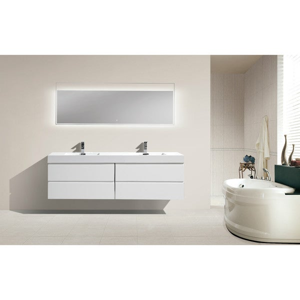 Moreno 72 Inch Wall Mounted Reinforced Acrylic Double Sink Bathroom Vanity Free Shipping Today