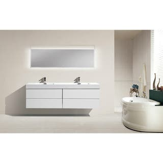 Moreno 72 Inch Wall Mounted Reinforced Acrylic Double Sink Bathroom Vanity 4 Options Available