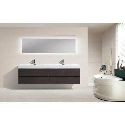 Moreno Bath MOF 80 Inch Wall Mounted Modern Bathroom Vanity With Reinforced Acrylic Double Sink