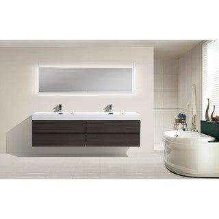 Moreno 80-inch Wall Mounted Reinforced Acrylic Double Sink Bathroom Vanity