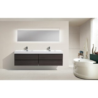 Moreno 80-inch Wall Mounted Reinforced Acrylic Double Sink Bathroom Vanity