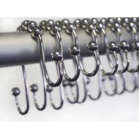 Home Fashion Designs Melody Collection Stainless Steel Double Roller Shower Hooks (Set of 12)