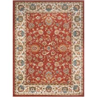 Colonial Home Traditional Floral Border Area Rug (6'7 x 9'6)