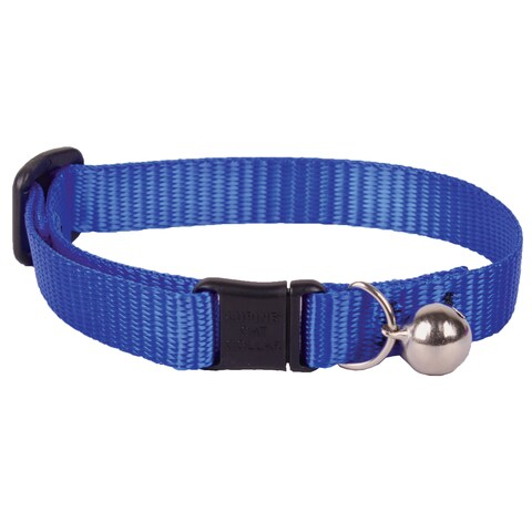 "Lupine Collars & Leads 1/2"" X 8""-12"" Adjustable Blue Safety Cat Collar With Bell"