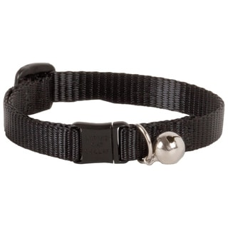 """Lupine Collars & Leads 1/2"""" X 8""""-12"""" Adjustable Black Safety Cat Collar With Bell"""