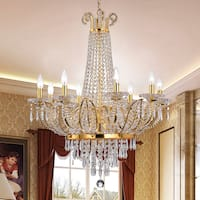 Stavith Crystal and Gold Metal 8-light Chandelier