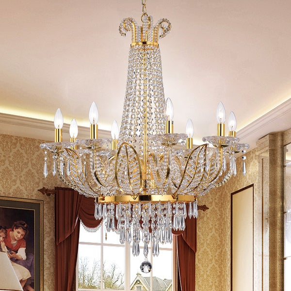 Shop Stavith Crystal and Metal 8-light Chandelier - Gold - Free Shipping  Today - Overstock - 14805829 419385145ef9