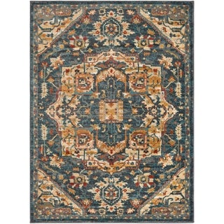 Colonial Home Vintage Medallion Area Rug - 53 x 73 (Teal/Charcoal - 53 x 73)