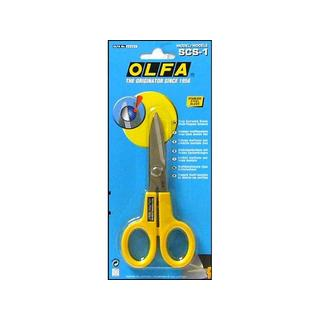 Olfa Stainless Steel Blades and Plastic Handles 5-inch Serrated Edge Scissors