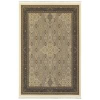 Gracewood Hollow Pierce Traditional Intricacies Ivory/ Black Fringe Area Rug - 7'10 x 10'10