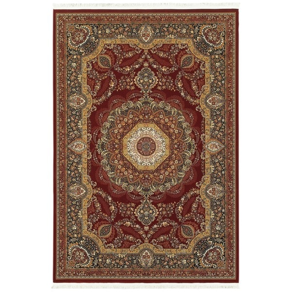 Style Haven Regal Center Medallion Red/Multi Fringe Area Rug (7'10 x 10'10) -  Oriental Weavers