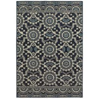 Style Haven Garden Trellis Navy/Grey Polypropylene Area Rug - 9'10 x 12'10