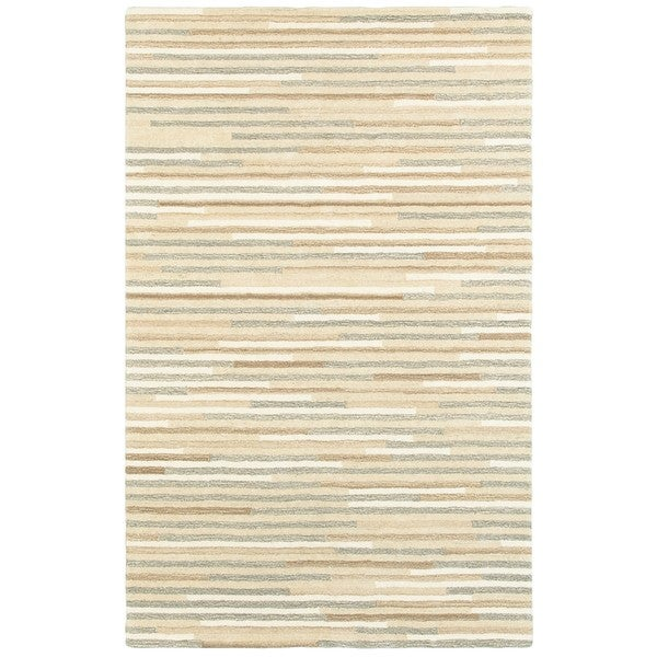 Style Haven Textured Stripes Beige/Grey Wool Handcrafted Area Rug (8' x 10') - 8' x 10'
