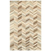 Style Haven Textured Chevrons Beige/Grey Handcrafted Wool Area Rug (8' x 10') - 8' x 10'