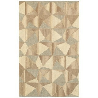 Geometric Beige/Grey Handcrafted Wool Area Rug (8' x 10')