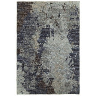 Style Haven Grey Skies Navy/Blue Area Rug (8'6 x 11'7)