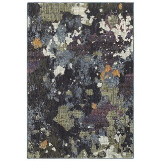 Style Haven Dappled Night Navy/Green Area Rug (8'6 x 11'7)