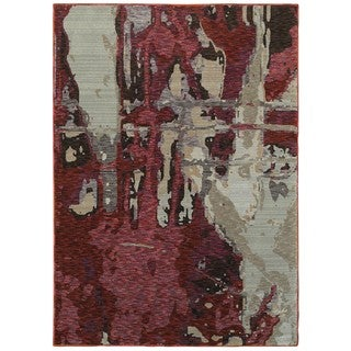"Style Haven Bordeaux Canvas Red/Beige Area Rug (7'10 x 10'10) - 7'10"" x 10'10"""