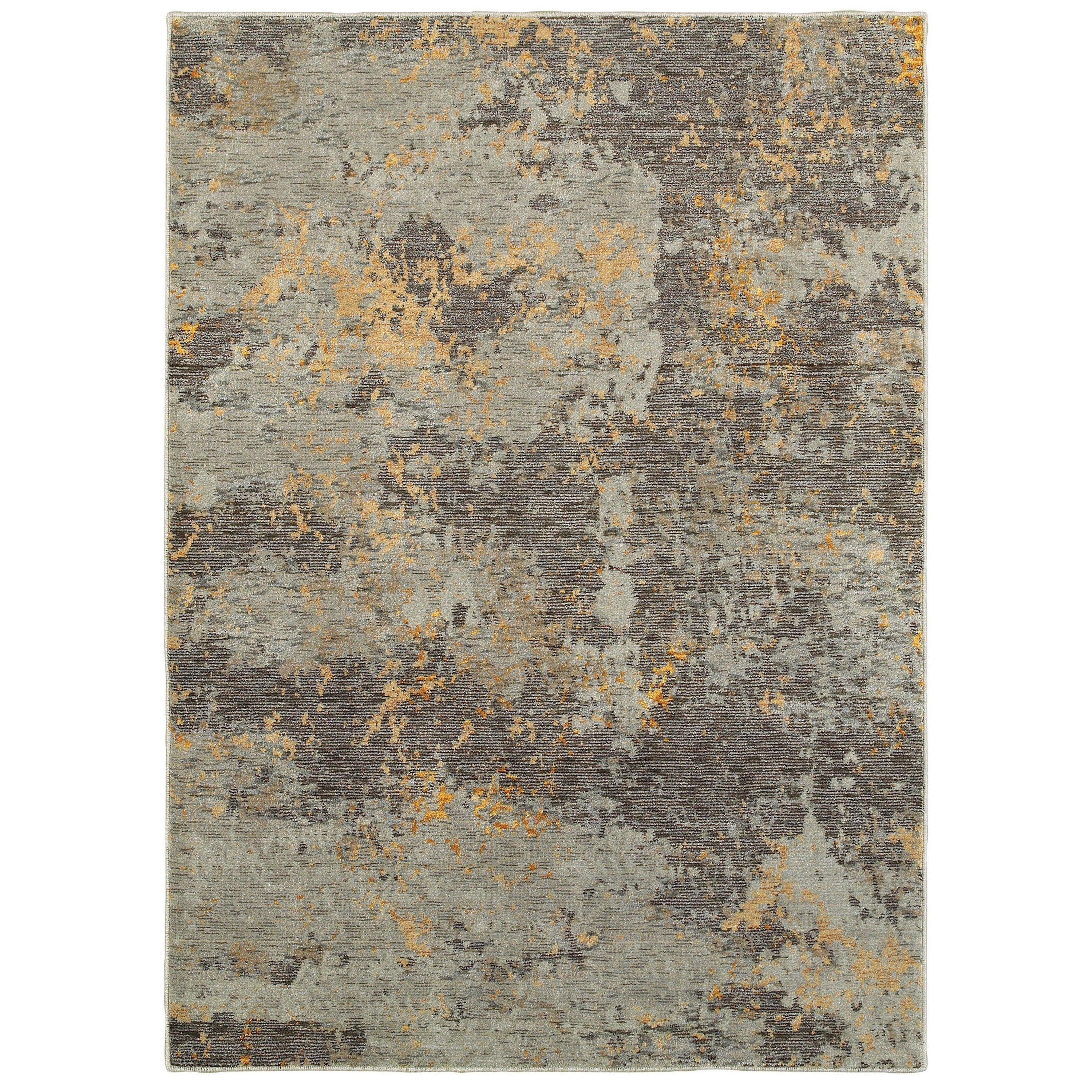 Style Haven Marbled Stone Grey/Gold Area Rug (86 x 117) - 86 x 117 (86 x 117 - Grey/Gold)