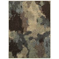 Clay Alder Home Pulp Mill Abstract Veil Blue/ Brown Area Rug - 8'6 x 11'7
