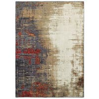 Carbon Loft Backus Layers Modern Ivory/ Red / Blue Area Rug - 7'10 x 10'10