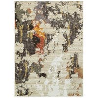 Clay Alder Home Pulp Mill Astratto Patina Beige and Charcoal Area Rug - 7'10 x 10'10